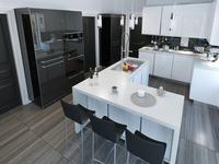 Biało-czarna kuchnia i wyspa kuchenna