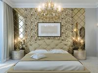 Pomysł na wnętrze - złoty wystrój sypialni