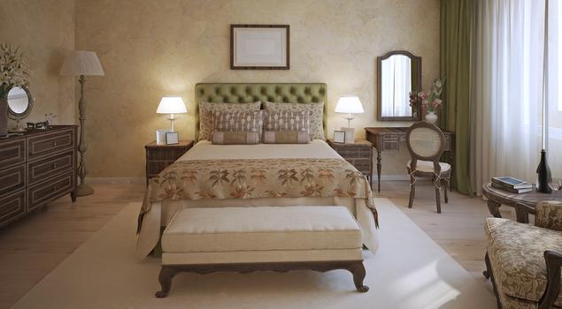 Sypialnia w stylu vintage w klasycznej kolorystyce