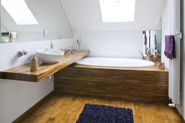 Zobacz galerię zdjęć Drewno w łazience. Meble łazienkowe i podłoga mogą być z drewna ...